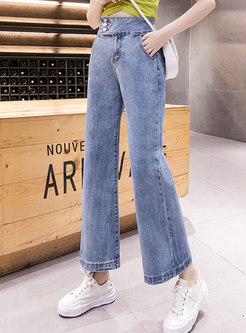 Blue High Waisted Wide Leg Jeans