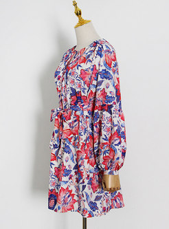 Boho Lantern Sleeve Floral Skater Mini Dress