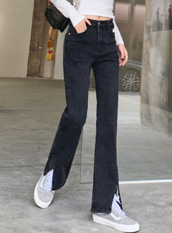 Black High Waisted Split Straight Jeans