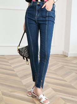 High Waisted Split Rough Selvedge Pencil Jeans