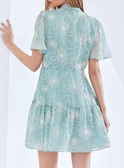 Mock Neck Print Ruffle Sleeve Mini Shirt Dress