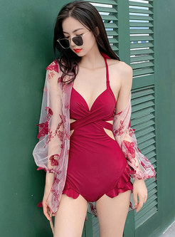 Halter Backless Transparent Cover-up Swimwear