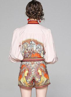 Print Lantern Sleeve Blouse & High Waisted Hot Pants