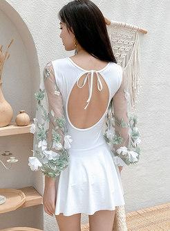 V-neck Transparent Flower Patchwork One Piece Swimwear
