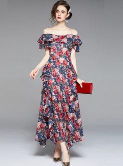 Boho Off-the-shoulder Print Ruffle Chiffon Maxi Dress