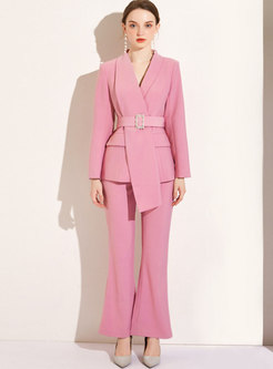 Pink Asymmetric Slim High Waisted Business Suits