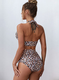 Halter Backless Leopard High Waisted Bikini
