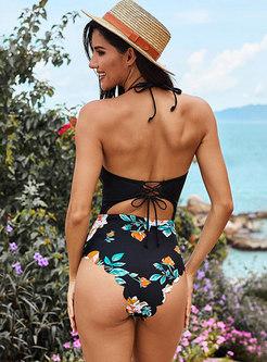 Sexy Halter Openwork Print One Piece Swimwear
