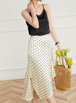 High Waisted Polka Dot Asymmetric Midi Skirt