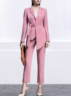 Work Asymmetric Blazer & High Waisted Dress Pant Suits