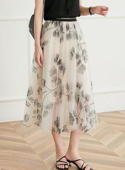 High Waisted Mesh Embroidered Maxi Skirt