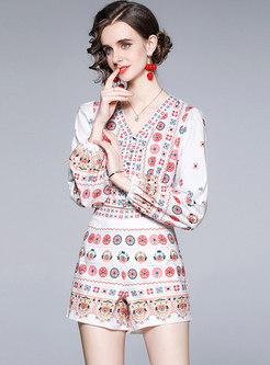 White V-neck Print Blouse & High Waisted Hot Pants