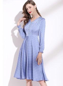 V-neck Long Sleeve Polka Dot A Line Dress