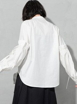 Plus Size Turn-down Collar Ruched Drawstring Blouse