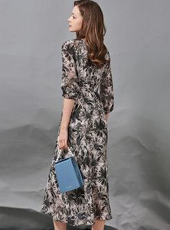 V-neck 3/4 Sleeve Print Silk A Line Maxi Dress
