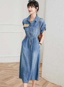 Turn-down Collar Denim A Line Denim Midi Dress