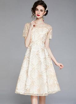 Mesh Embroidered Big Hem Cocktail Dress