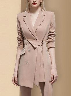 Lapel Long Sleeve Asymmetric Mini Blazer Dress