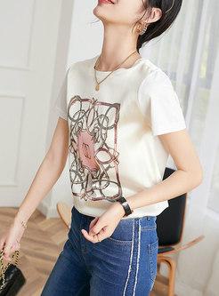 Casual Print Pullover Slim T-shirt