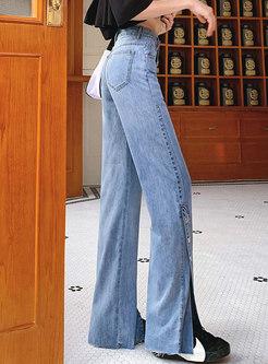 Blue High Waisted Split Bell Bottom Jeans