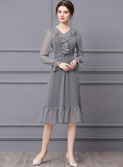 Ruffle Plaid Flare Sleeve Midi Chiffon Dress