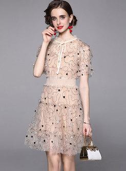 Mock Neck Mesh Embroidered Bridesmaid Dress