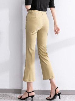 High Waisted Slim Flare Capri Pants