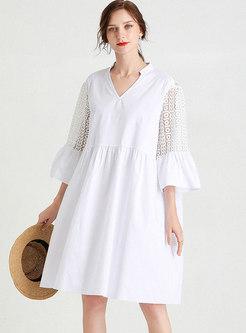 V-neck Plus Size Lace Openwork Shift Dress