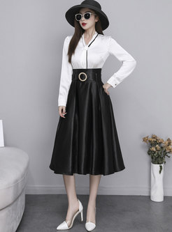 Black High Waisted Big Hem Satin Midi Skirt