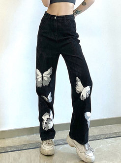 Black High Waisted Embroidered Straight Jeans