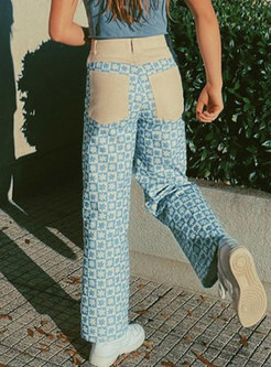 Color-blocked Print Patchwork Straight Pants