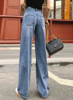 Summer High Waisted Straight Jeans