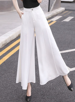 White High Waisted Wide Leg Flare Pants