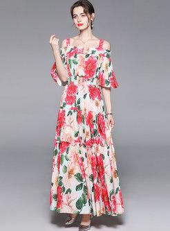 Boho Off-the-shoulder Print Big Hem Beach Maxi Dress