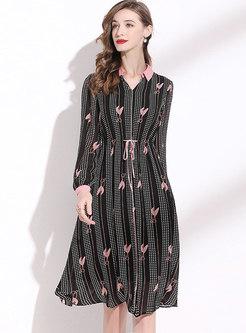 Black Polka Dot A Line Chiffon Dress