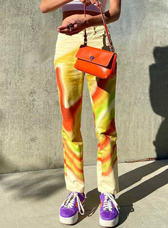 Casual High Waisted Tie-dye Straight Pants