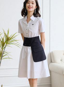 White Short Sleeve Empire Waist Shirt Dress