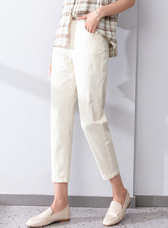 Casual High Waisted Harem Ripped Jeans