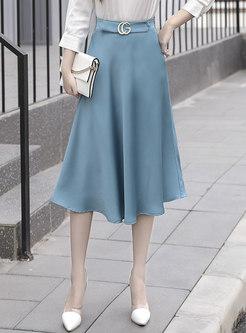 High Waisted Satin Big Hem A Line Skirt