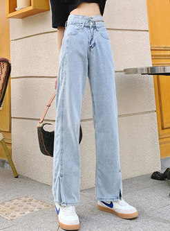 High Waisted Openwork Split Straight Jeans
