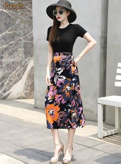 High Waisted Print Chiffon Midi Skirt