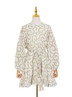 Long Sleeve Print A Line Mini Dress
