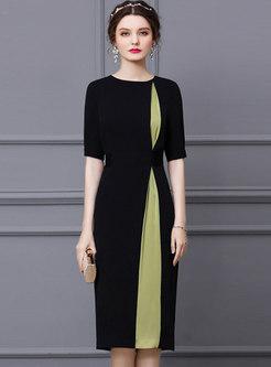 Color-blocked Half Sleeve Patchwork Bodycon Dress