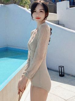 Halter Backless Transparent One Piece Swimwear