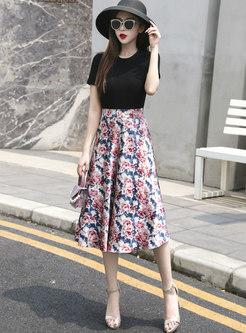 High Waisted Print Satin Knee-length Skirt