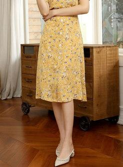 High Waisted A Line Floral Chiffon Skirt