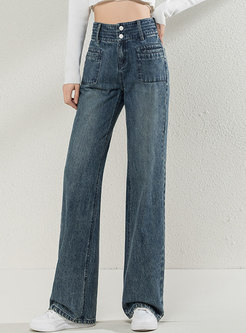 Retro High Waisted Wide Leg Jeans