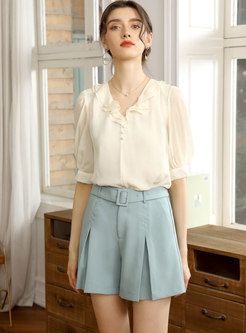 High Waisted Belted Bell Bottom Shorts