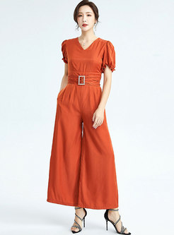 V-neck Petal Sleeve High Waisted Palazzo Jumpsuits