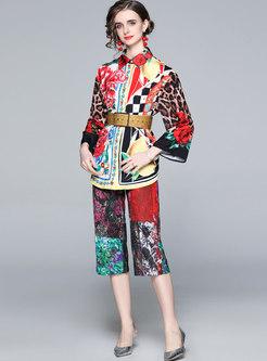 Retro Lapel Long Sleeve Print Capri Pant Suits